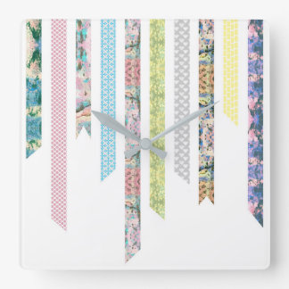 Washi Tape Pastels | DIY & Crafts | Ribbon Strips Square Wall Clock
