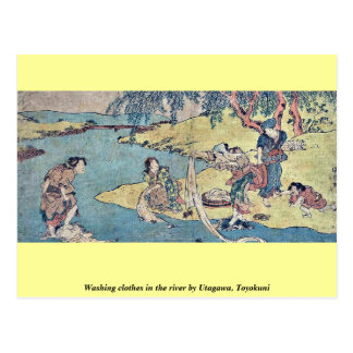 Washing clothes in the river by Utagawa, Toyokuni Postcards