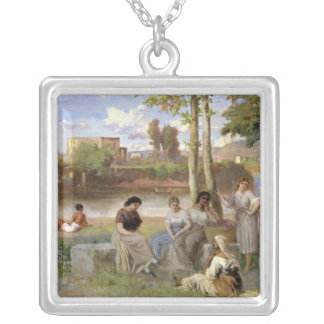 Washing on the Tiber, 1864 Silver Plated Necklace
