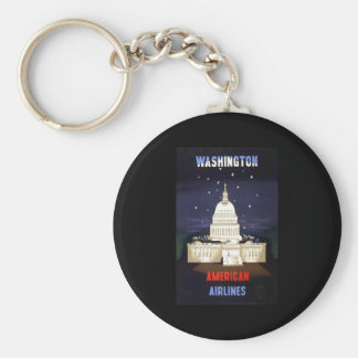 Washington American Airlines Basic Round Button Key Ring