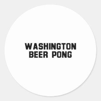 Washington Beer Pong Round Stickers