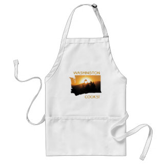 Washington Cooks State Outline with Sunset Adult Apron