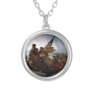 Washington Crossing the Delaware - US Vintage Art Silver Plated Necklace