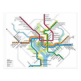 Washington D.C. Metro Subway Map Postcard