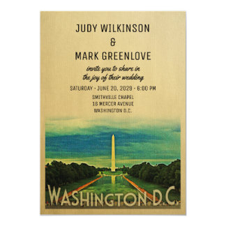 Washington D.C. Wedding Invitation DC Vintage