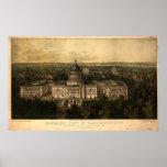 Washington DC 1857 Antique Panoramic Map Poster