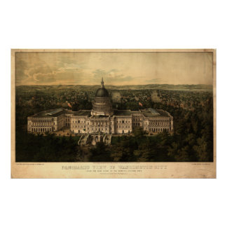Washington DC 1857 Antique Panoramic Map Poster