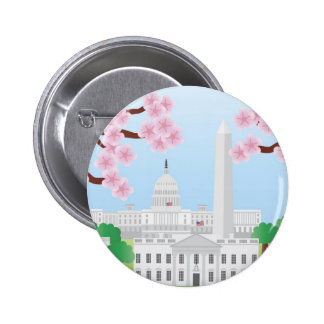 Washington DC and Cherry Blossoms Button