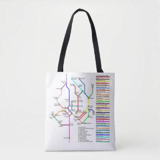 Washington DC Bike Map Tote Bag