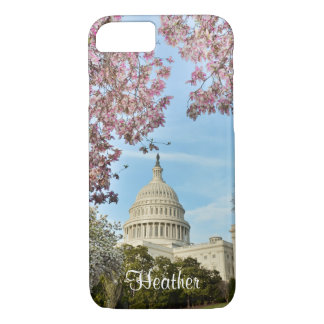 Washington DC Capitol Building and Cherry Blossoms iPhone 7 Case