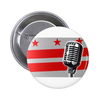 Washington DC Flag And Microphone 6 Cm Round Badge