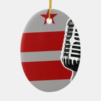 Washington DC Flag And Microphone Ceramic Ornament