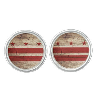 Washington DC Flag on Old Wood Grain Cufflinks