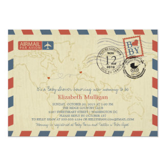 Washington DC / France Airmail | Baby Shower Card