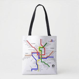Washington DC Metro Subway Map Tote Bag