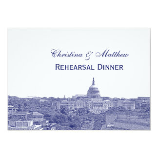Washington DC Navy Skyline Silhouette Rehearsal Dn Card