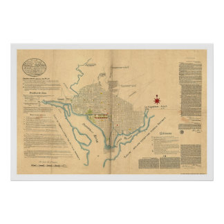 Washington DC Plan Map by L'Enfant 1791 Poster