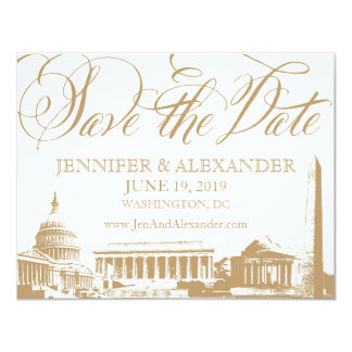 Washington DC save the date - Vintage Monuments 3 Card