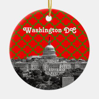 Washington DC Skyline Green Red Quatrefoil BG Xmas Christmas Tree Ornaments