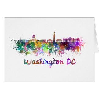 Washington DC skyline in watercolor Card