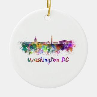 Washington DC skyline in watercolor Ceramic Ornament