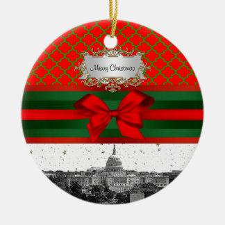Washington DC Skyline Red Green Quatrefoil BG Xmas Ceramic Ornament