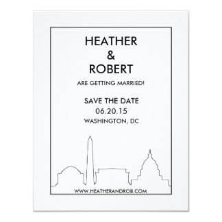 Washington DC Skyline Save the Date (black) Card