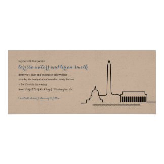 Washington DC Skyline Wedding Invitation