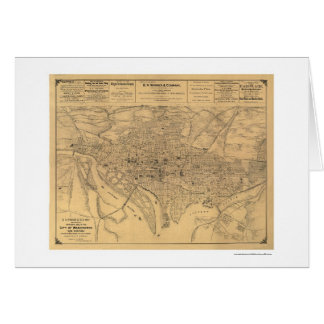 Washington DC & Suburbs Map by Gedney 1886 Greeting Card