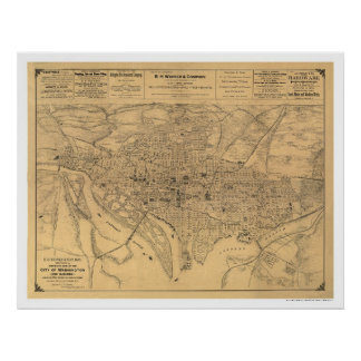 Washington DC & Suburbs Map by Gedney 1886 Posters