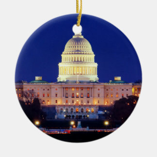 Washington DC United States Capitol at Dusk Ceramic Ornament