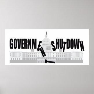 Washington DC US Capitol Government Shutdown Poster