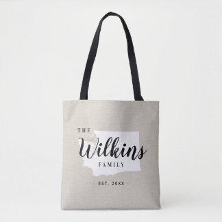 Washington Family Monogram State Tote Bag