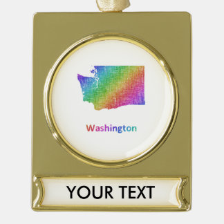 Washington Gold Plated Banner Ornament