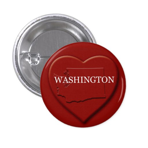 Washington Heart Map Design Button