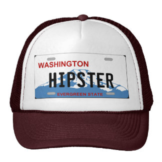 Washington hipster license plate hat