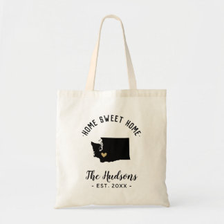 Washington Home Sweet Home Family Monogram Tote Bag