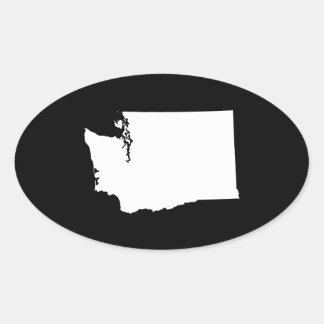 Washington in White and Black Oval Sticker