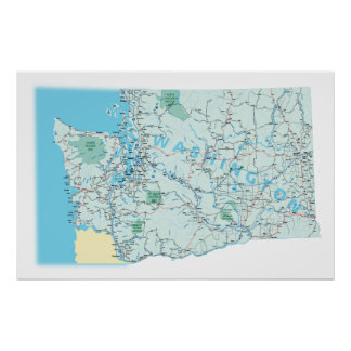 Washington Interstate Map Print