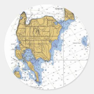 Washington Island, WI Nautical Chart Classic Round Sticker
