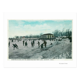 Washington Lake Park Ice Skating Scene Postcard