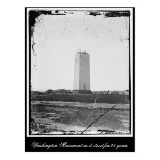 Washington Monument as it stood for 25 years. Postcard