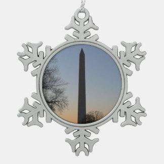 Washington Monument at Sunset Pewter Snowflake Decoration