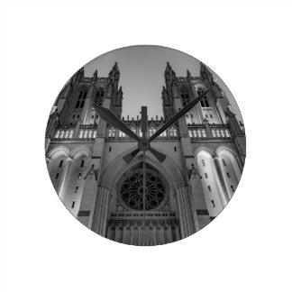 Washington National Cathedral on a foggy night Clock