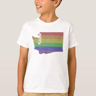 Washington Rainbow Pride Flag Mosaic For Kids T-Shirt