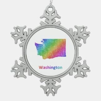 Washington Snowflake Pewter Christmas Ornament