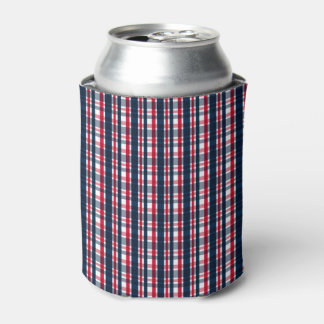 Washington Sports Fan Blue White Red Plaid Can Cooler