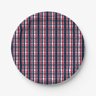 Washington Sports Fan Blue White Red Plaid Paper Plate