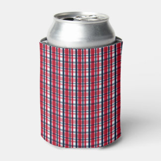 Washington Sports Fan Red White Blue Plaid Can Cooler