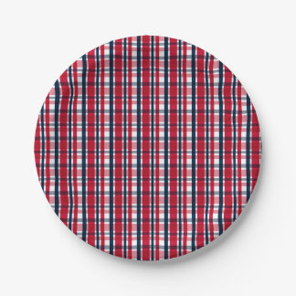 Washington Sports Fan Red White Blue Plaid Paper Plate